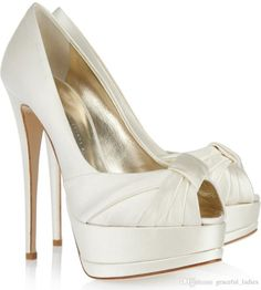 ivory satin wedding shoes peep toe summer platform bridal pumps intended for white wedding shoes with bow