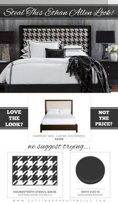 Use the Houndstooth Stencil from Cutting Edge Stencils to stencil a DIY headboard.  http://www.cuttingedgestencils.com/wall_stencil_houndsto...