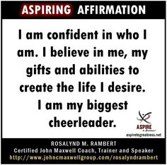 What will you affirm today?  I affirm that...   ASPIRE TO GREATNESS WITH US @https://www.facebook.com/ASPIRETOGREATNESS