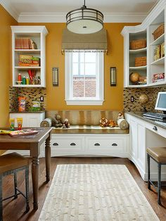 Boost your office's livability with a great window seat! Find more ideas here: http://www.bhg.com/home-improvement/windows/built-in-window-seat/?socsrc=bhgpin091214boostlivability&page=5