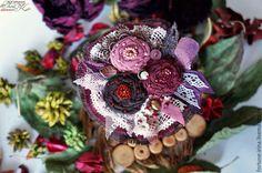 """Купить Брошь в стиле бохо """"Английский сад"""" 3. Бордо. - розовый, серый, серо-голубой"""
