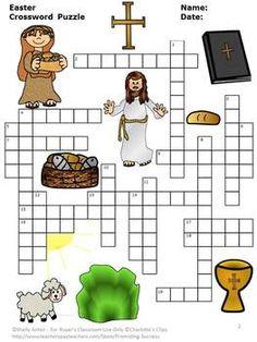 Easter: Easter vocabulary will be a breeze with the fun crossword puzzle. The clues are on a separate page along with an optional word bank for easy differentiation. An answer key is provided for your convenience.  The religious vocabulary words include:  tomb salvation Passover lent lamb resurrection cross prayer miracle Ash Wednesday angel sacrifice Jesus ascend holy passion ritual Good Friday crucify tomb
