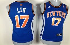 nba #17 New York Knicks Lin blue women jerseys