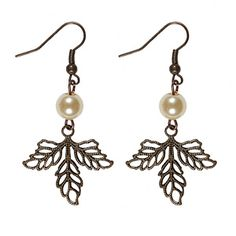 @WorldCrafts Cluster Leaf Earrings-These delicate mini-leaf earrings feature a single synthetic pearl for added elegance.  Made by Refugee Beads in Atlanta, GA provides hope and opportunity to the wives of immigrant pastors. #fairtrade #set1free #MothersDay
