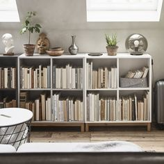 EKET serie – IKEA – Keep up with the times. Low Bookshelves, Ikea Bookcase, Ikea Eket, Apartment Living, Living Room, Interior Styling, Interior Design, Attic Rooms, New Room