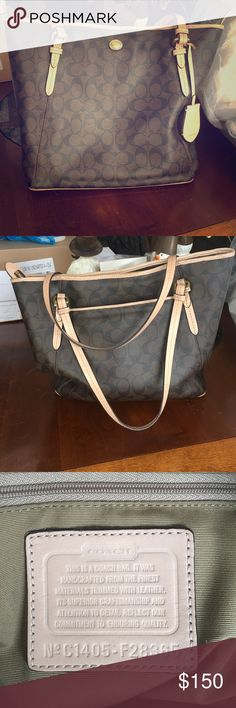Coach purse: Peyton signature zip top tote Coach purse brown and tan colors great condition Coach Bags Shoulder Bags