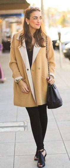 fall fashion beige coat black everything
