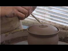 Throwing a Lidded Sugar Bowl on the Pottery Wheel : Attaching a Knob to a Sugar Bowl Lid