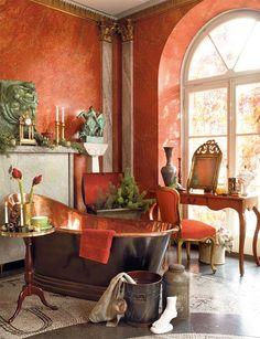 love the venetian plaster burnt orange walls and the oil rubbed bronze and copper tub! Orange Bathrooms, Dream Bathrooms, Beautiful Bathrooms, Copper Tub, Copper Bathroom, Tuscan Bathroom, Bathroom Modern, Coral Bathroom, Moroccan Bathroom