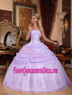 Lovely Lilac Strapless Appliqued Dress for Quinceanera in Organza Taffeta