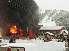 Fire destroys the main lodge of  Big Powderhorn Mountain Resort near Bessemer in Michigan's Upper Peninsula on Thursday.