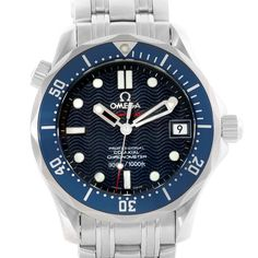 11588 Omega Seamaster Midsize James Bond Blue Wave Dial Watch 2222.80.00 SwissWatchExpo