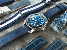 When blue meet Seiko Prospex Samurai SRPB09 Blue Lagoon. The gorgeous blue sunburst dials with those blue watch straps. Take a look!22mm MiLTAT Honeycomb Navy Blue Nylon Velcro Fastener Watch Strap…
