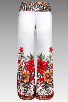 $15.73 Wide Leg Floral Print Pants - White