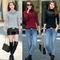 Women's Autumn Spring Sexy Slim Fit Knitted Mock Neck Soft Sweater Pullover Tops 3 Colors