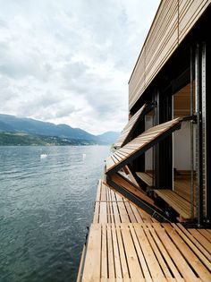 louvre shutters on hydraulic folding to form deck.