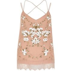River Island Pink oriental embellished cami top ($47) ❤ liked on Polyvore featuring tops, tank tops, river island, shirts, pink, red sleeveless shirt, red lace shirt, sleeveless shirts, lace cami tank and lace camisole