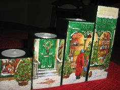 Decoupage Christmas candle holder