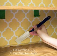 {DIY} Rental-Friendly Kitchen Makeover! {How-To Wallpaper the Inside of Your Cabinets!}