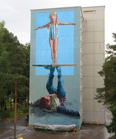 """Balancing act, Portrait of my father"" Helsinki, Finland: new piece by Australian artist Fintan Magee for the Upeart Festival."