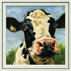 Cow art print in 8x10 double mat from an by FinnellFineArt on Etsy, $15.00