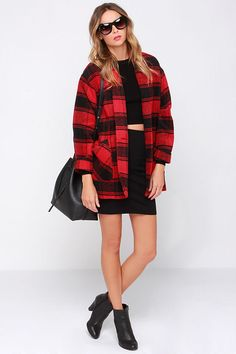 Possibly our FAV coat from our #FW14 collection...the Lumber Jane Red Plaid Coat @lulusdotcom! #danceandmarvel