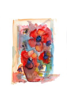 Wedding Gifts For Couples Rose Watercolor Painting by SeferArt, $74.00