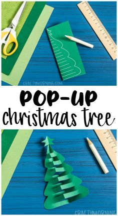 Make a pop up christmas tree paper craft! Fun and easy christmas craft for kids to make. Make a pop up christmas tree paper craft! Fun and easy christmas craft for kids to make. Christmas Tree Paper Craft, Christmas Art Projects, Christmas Crafts For Kids To Make, Paper Crafts For Kids, Simple Christmas, Paper Crafting, Holiday Crafts, Christmas Diy, Christmas Trees