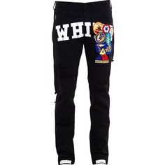 Off-White Distressed Jeans Embroidered with Badges ❤ liked on Polyvore featuring jeans, torn jeans, off white jeans, destroyed jeans, embroidered jeans and distressing jeans