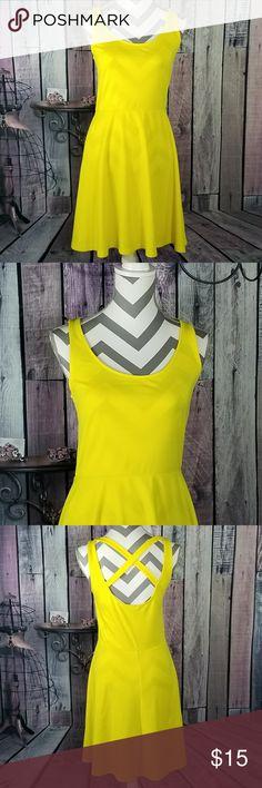 Skater Cross Back Dress EUC yellow dress. H&M. Polyester blend. H&M Dresses