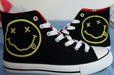 Nirvana Shoes by ShadowMoses on Etsy, Mode Converse, Converse Shoes, Band Outfits, Emo Outfits, Custom Sneakers, Custom Shoes, Mode Hip Hop, Band Merch, Shoe Art