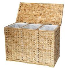 Wäschekorbe aus Wasserhyazinthe 3 Fächer Wäschekorbe Wäschesortierer Wäschetonne Wäschesammler Wäschetruhe Wäschebox mit Deckel 70x33x51 CM