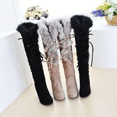 Womens Fur Trim Top High Heel Lace Up Pull on Motorcycle Knee High Boots Shoes | eBay