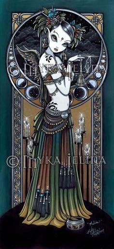 Melita Gothic Tribal Fusion Storm Angel 13 X 19 inch Art Print by Myka Jelina