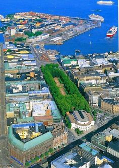 Helsinki, Finland: farthest isle of Katajanokka, in the middle Esplanad Park, in front of it the Swedish Theater, in the left corner Stockmann department store. Visit Helsinki, Finland Travel, Lappland, Scandinavian Countries, Baltic Sea, Aerial View, Budapest, Denmark, Alaska