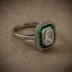 Diamond and Emerald Engagement Ring  by EstateDiamondJewelry