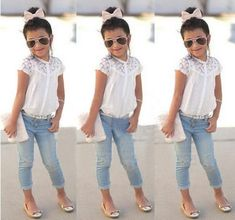 2016 Kids Summer Clothes 2016 Fashion Baby Girls Dress T Shirt + Denim Pants Kids Summer Clothes Outfits Kids Clothing Sets Girl Children'S Jeans From Happylives, $8.83   Dhgate.Com