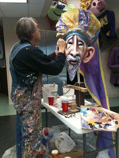 Madcap Puppets designer David Fichter painting the head of King Kaspar. (Amahl and the Night Visitors)
