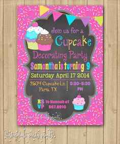 Cupcake Birthday Invitation Party Chalkboard First