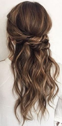 wavy hairstyle with twists half twisted crown classic curls brunette hair