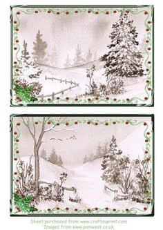 2 Christmas toppers with frame and holly on Craftsuprint designed by Pamela West - 2 Christmas toppers with frame and holly. Made from my own original watercolour paintings - Now available for download!