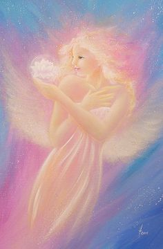 """Limited angel art photo """"bloom"""" , modern angel painting, artwork, picture frame, gift for wedding, baptism and birthday, guardian angels,"""