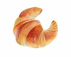Croissant Art // Food Illustration // Archival par KendyllHillegas ok Illustration Dessert, Watercolor Illustration, Illustration Simple, Illustration Vector, Croissant Nutella, Mini Croissant, Donut Mix, Watercolor Food, Watercolour