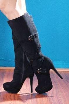 Bonanza Booth Items Black High Heel Boots Size 8 New 2135  Black Heels 