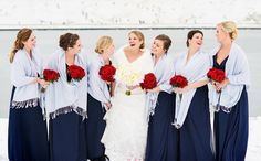 Kelly Pratt Photography, #redrosebouquets, #winterwedding, #redandwhite, #navydresses