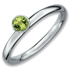 Sterling Silver Stackable Expressions High 4mm Round Peridot Ring