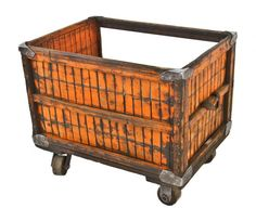 unusual custom-built c. 1930's antique american industrial mobile orange-painted slatted wood factory cart or bin with exposed top and side - Repurposed Furniture - Products
