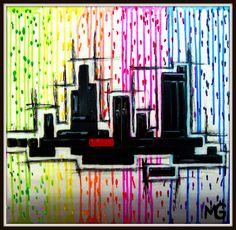 A SMILE IN THE RAIN  [18x18] Rain, Neon Signs, Smile, Rain Fall