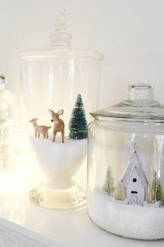 Christmas DIY: Christmas Jars by Th Christmas Jars by The Idea Room and other great DIY Christmas decorations Christmas Jars, Homemade Christmas Gifts, Winter Christmas, Christmas Time, Elegant Christmas, Christmas Scenes, Christmas Villages, Diy Christmas Village, Christmas Glasses