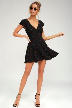 c7cb1b4e5cb Cute Black Cherry Print Dress - Cherry Print Skater Dress Cute Vacation  Outfits